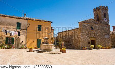 The Main Square, Piazza Giuseppe Garibaldi, In The Historic Medieval Village Of Poggio Capanne Near