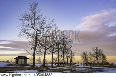 A Public Restroom And Popular Trees At The Mcgregor Lake Provincial Park Recreation Area During A Wi