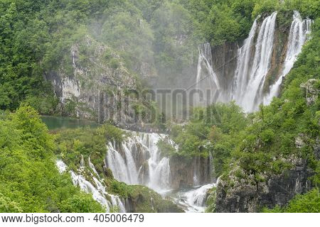 Veliki Slap, The Largest Waterfall At Plitvice, At On A Rainy Misty Day At Plitvice Lakes National P