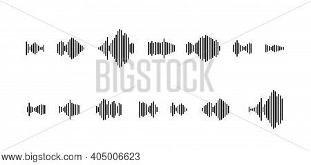 Sound Waveform Icon For Music Player, Podcasts, Video Editor, Voise Message In Social Media Chats, V