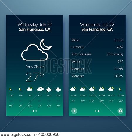 Flat User Interface Concept With Weather Widgets And Web Elements For Mobile Design Vector Illustrat
