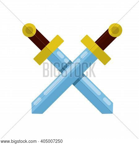 Crossed Sword. Medieval Knight's Weapon. Soldier Item. Symbol Of War And Battle. Sharp Blade And Han