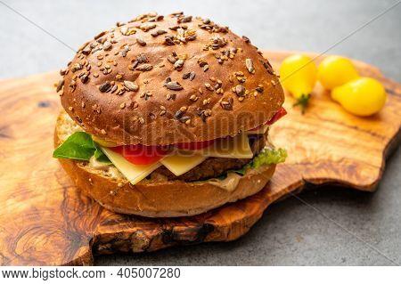 Fresh Made Vegan Burger, Healthy Food, Close Up