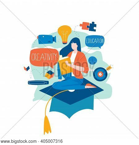Education, Distance Education, Internet Studying, E-learning, Remote Learning Flat Vector Illustrati