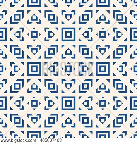 Vector Geometric Ornament In Ethnic Style. Abstract Seamless Pattern With Squares, Diamonds, Triangl