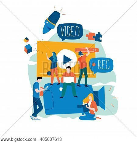 Video Production, Video Footage Editing And Montage, Creating Video Content Flat Vector Illustration