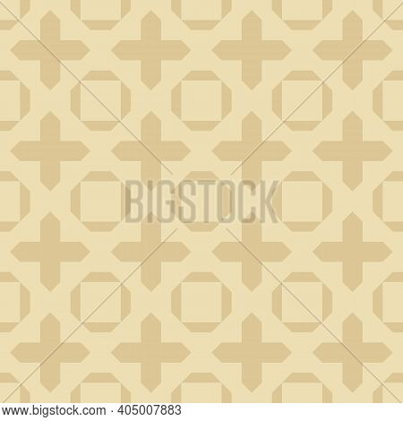 Abstract Geometric Floral Seamless Pattern. Simple Vector Background With Crosses, Squares, Flower S