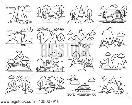 Line Icon Landscape. Outline Cabin In Forest, Mountain, Sea Linear, Air Balloons In Sky And Lighthou