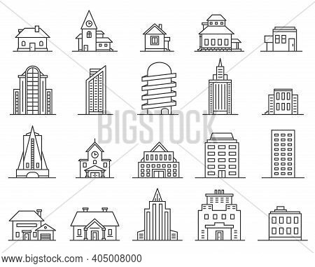Line Skyscrapers And Houses. Outline City And Town Building. Real Estate Icon. Modern Architecture A