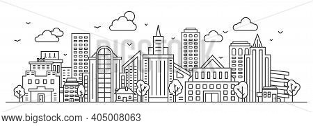 Line City Landscape. Urban Panorama With Skyscraper, Buildings And Trees. Outline Town Street And Sk