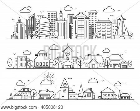 Line City, Town And Village. Landscape Panoramas With Skyscrapers, Cottages And Countryside Houses.