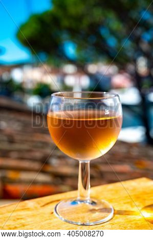 Drinking Of Local Cold Rose Wine On Balcony In Summer Provence, Var, France