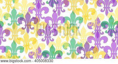Seamless Pattern Beautiful Yellow, Green, Purple Fleur-de-lis Lily Symbol On White Background. Venet