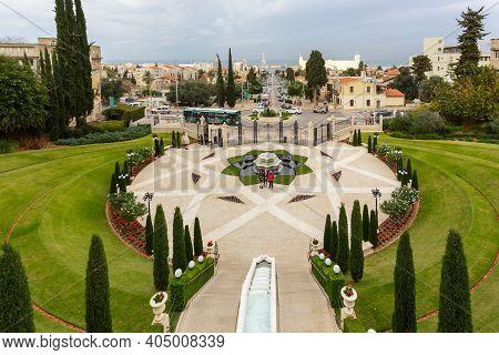 Haifa, Israel - January 07, 2016: Top View Of The Bahai Garden And Haifa