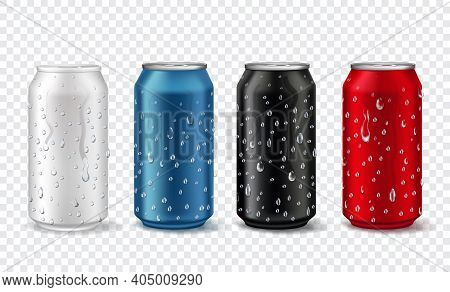 Metal Cans With Drops. Realistic Aluminium Can Mockup In White, Red, Blue And Black Color. Soda Or B