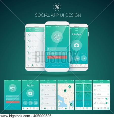 User Interface Design Concept With Different Screens Buttons And Web Elements For Mobile Social Appl