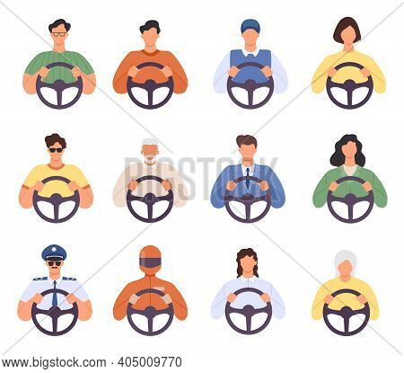Drivers. Man And Woman Driving Car Icons. Taxi Cab Driver And Passenger, Courier, Police And Elderly