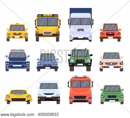 Cars Front View. Flat Urban Vehicles Taxi, Police, Delivery Service, School Bus, Van, Truck And Spor