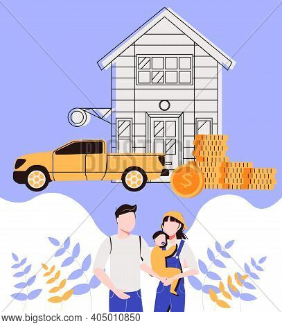Family With Children Saves Money Buy House And Car. From Poverty To Wealth. Achive Goal. Vector Illu