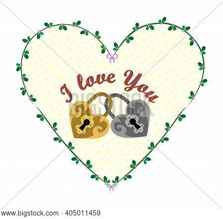 Romantic Vintage Heart With Two Interlocking Padlocks