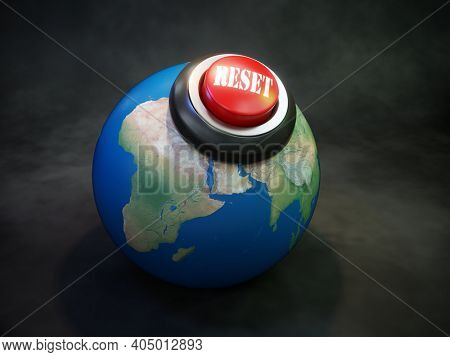 3D rendering of planet Earth with red reset button as Globa reset concept