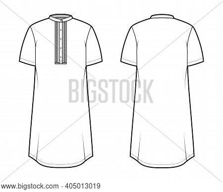 Shirt Kurta Technical Fashion Illustration With Short Sleeves, Embellished Henley Neck. Flat Indian