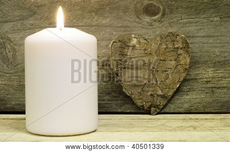 Candle And Bark Heart