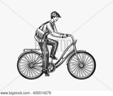 A Man On A Bicycle. Eco Friendly Transport. The Postman Rides A Bike. Vintage Custom Emblem, Label B