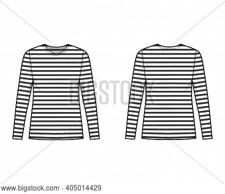 Shirt Sailor Basque Technical Fashion Illustration With Long Sleeves, Tunic Length, Scoop Neck, Over