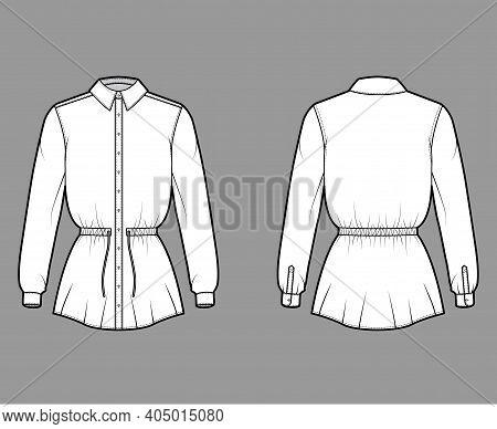 Shirt Drawstring Gathered Waist Technical Fashion Illustration With Tie, Long Sleeves, Tunic Length,