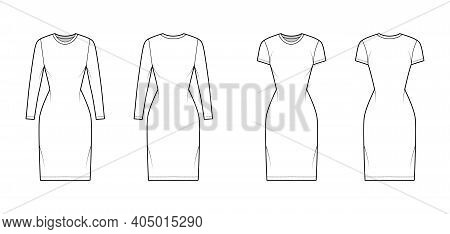 Set Of T-shirt Dresses Technical Fashion Illustration With Crew Neck, Short And Long Sleeves, Knee L