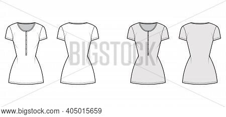 Shirt Dress Mini Technical Fashion Illustration With Henley Neck, Short Sleeves, Fitted Body, Pencil
