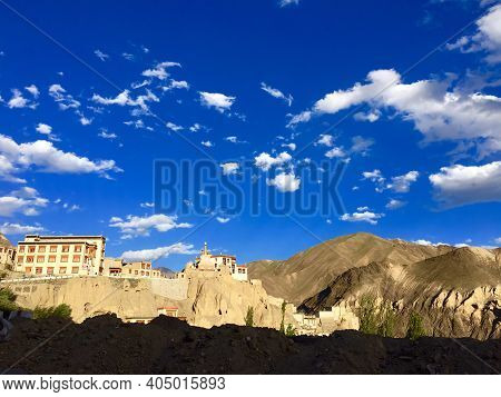 The Lamayuru Monastery On Bare Mountains In Ladakh, India On A Sunny Day, Lamayuru Temple, Leh, Lada