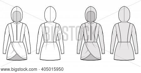 Modest Hijab Tunic Technical Fashion Illustration With Zip Henley Neck, Long Sleeves, Fitted Body, P