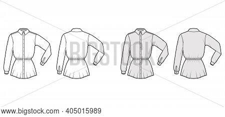Shirt Drawstring Gathered Waist Technical Fashion Illustration With Elbow Folded Long Sleeves, Tunic