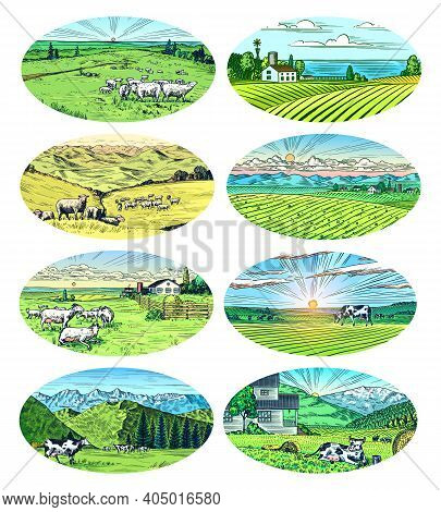 Rural Meadow Set. A Village Landscape With Cows, Goats And Lamb, Hills And A Farm. Sunny Scenic Coun