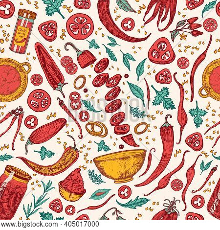 Red Hot Chili Peppers. Seamless Pattern In Vintage Style. Salad Ingredients. Farm Vegetable Banner O