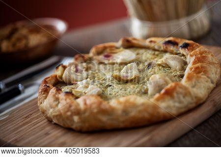 Artichoke Flan Freshly Baked. High Quality Photo.
