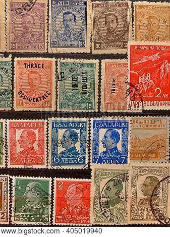 Old Stamps, Bulgarian Stamps, Stock Stamps, Stamped Yellowed Postage Stamps, Retro, Vintage