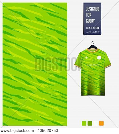 Fabric Pattern Design. Abstract Pattern On Green Gradient Background For Soccer Jersey, Football Kit