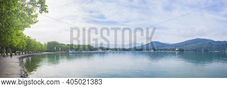 The Alpine Lake Worthersee Promenade, Famous Tourist Attraction For Walking And Many Water Activity