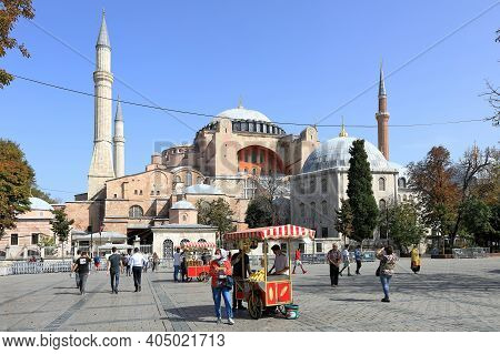 Istanbul, Turkey - October 05, 2020. View Of The Square In Front Of Hagia Sophia Cathedral And Murad