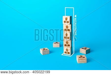 Blocks Tower Of People Symbolizes The Recruitment Of Team Members. Formation And Staffing Of The Pro