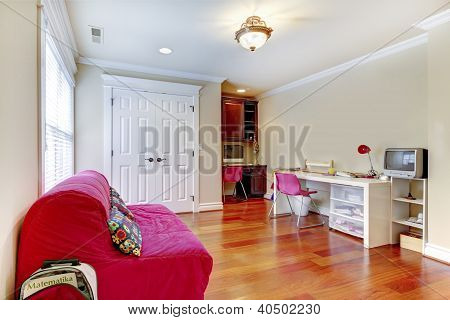 Children Home Study Play Room Interior With Pink Sofa.
