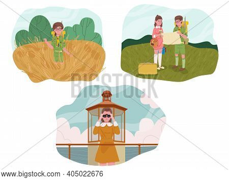 Set Of Tourists People Characters For Hiking And Trekking. Hiking Man And Woman Concept. Vector Illu