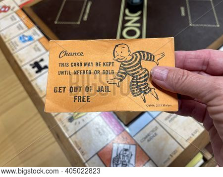 Orlando,fl Usa - January 25, 2021:  A Get Out Of Jail Free Card From A Monopoly Set.  Concept Pardon