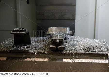 Metal Shavings After Workpiece Processing On Cnc Milling Machine. Selective Focus.