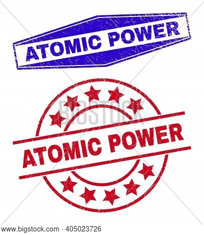 Atomic Power Stamps. Red Rounded And Blue Extended Hexagonal Atomic Power Stamps. Flat Vector Scratc