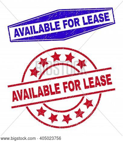 Available For Lease Stamps. Red Round And Blue Squeezed Hexagonal Available For Lease Seal Stamps.