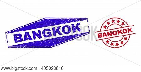 Bangkok Stamps. Red Rounded And Blue Flatten Hexagon Bangkok Rubber Imprints. Flat Vector Scratched